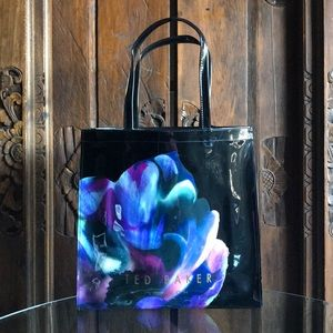 Ted Baker Floral Flower Patent Tote Bag Purse